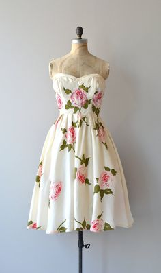 Vintage 1950's Rose Print Silk Dress