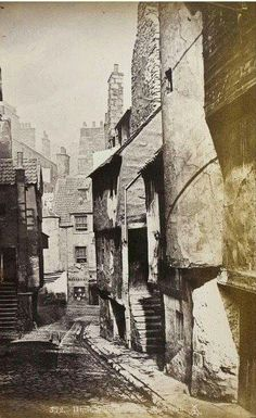 Hugh School Wynd, the Cowgate, Edinburgh c 1870 Old Town Edinburgh, Edinburgh Scotland, Scotland Travel, Vintage Pictures, Old Pictures, Old Photos, Old Street, British History, Vintage Photographs