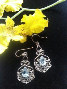 Sterling Silver Topaz Dangle Earrings by xsoulsearchingx on Etsy, $14.99