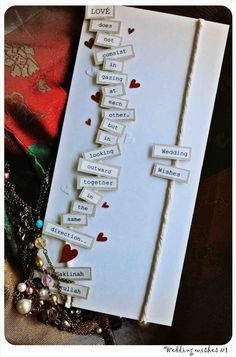 I am in LOVE with this DIY wedding card! No instructions with it, but seems easy enough to print this quote (or another favorite quote), cut out each individual word and attach with pop dots to a card. Add a few red hearts and the couple's name to complete a unique card.