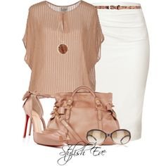 Love this entire softly feminine outfit. And those Christian Louboutin Heels! Only $1045.00