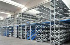Metalsistem Super 123 two tier installation Tenerife, Warehouse Design, Racking System, Shop Organization, Floor Space, Flooring, Industrial, Storage, Metal