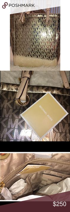 ⚜️NWT ⚜️ AUTHENTIC MICHAEL KORS PALE GOLD TOTE ⚜️NWT ⚜️ NEW WITH TAG! LARGE HAND BAG! AUTHENTIC MICHAEL KORS PALE GOLD TOTE SUPER SEXY AND METALLIC WITH MK LOGO! I'M OBSESSED! NO TRADES! Michael Kors Bags Totes