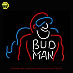 Bud Man Beer Light Neon Sign HandCraft Decoration Real Glass Neon Bulb Glass Tube Beer Signs Lighted Attract Bright 24x31 #Affiliate