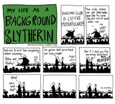 My Life As A Background Slytherin dump - Imgur Harry Potter Comics, Harry Potter Jokes, Harry Potter Universal, Harry Potter Fandom, Background Slytherin, Percy Jackson, Slytherin Pride, Slytherin Aesthetic, Ravenclaw