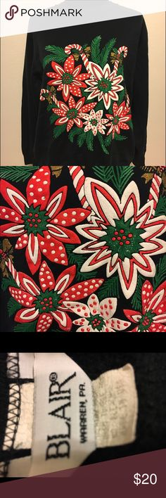 Vintage made in the 🇺🇸 Christmas sweatshirt Vintage Christmas sweatshirt with puffy graphic. Sweatshirt in very good shape. Puffy graphic has cracks though. Be aware before purchase. Size large. Super soft and comfortable. 22 arm to arm and 26 shoulder to hem. Vintage Tops Sweatshirts & Hoodies