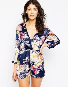 Daisy Street Playsuit In Floral Print