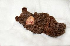 Baby Cocoon and Bear Hat Set Knit in Barley Brown  Photo Prop on Etsy, $51.78 CAD