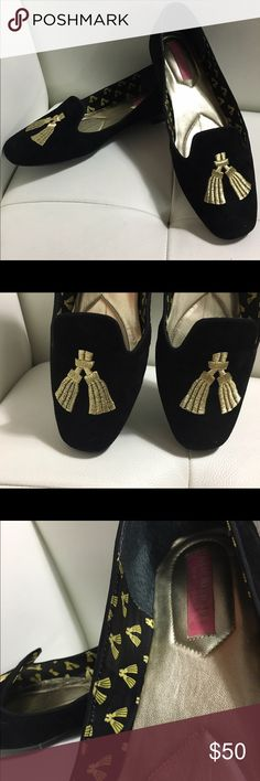 Isaac Mizrahi New York Loafers Wm Sz 7 • black and gold smoking loafers suede with embroidered metallic gold tassels-• leather upper and liner rubber soles with embossed logo• no signs of wear• no shoe box and no dust bag-• true to size Isaac Mizrahi Shoes Flats & Loafers