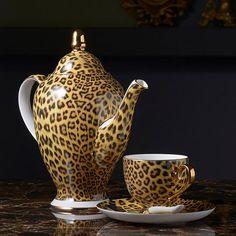 Leopard Print Bone China Coffee/Tea Set in Luxury Porcelain Coffee Accessories, Cat Accessories, Cappuccino Machine, Espresso Machine, Mugs Set, Tea Mugs, Coffee Mugs, Copper And Brass, Bone China