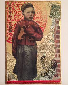 The Little Aristocrat. Asian Mixed Media Art, Mixed Media Collage, Asian Art, Create Collage, Mail Art, Watercolor Paper, French Vintage, Ephemera, Faces