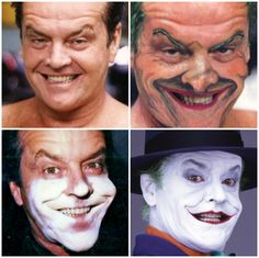 Jack Nicholson's transformation to become The Joker.