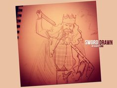 King Of St Louis with his Sword Drawn by artist Geoff Long using ink.
