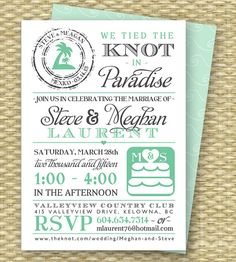 Destination Wedding Invitation by SunshinePrintables on Etsy