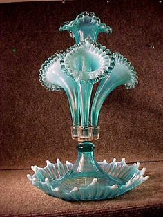 "Antique Opelescent Blue Epergne 17"" Tall Fenton Glass Co L G Wright Co"