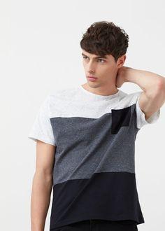 Camiseta paneles contraste | MANGO MAN
