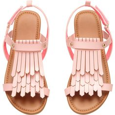 Sandals with Fringe $17.99 ($18) ❤ liked on Polyvore featuring shoes, sandals, fringe sandals, synthetic leather shoes, vegan shoes, velcro strap shoes and vegan footwear