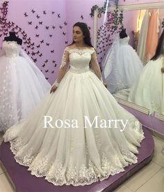 2c9f961bea144 Elegant Long Sleeve Wedding Dresses 2017 White Puffy Tulle Off Shoulder  Applique Vintage Plus Size Bridal Dress Lace Wedding Gowns Custom Plus Size  Wedding ...