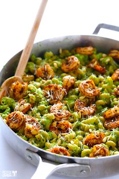 This asparagus-spinach pesto pasta is topped with simple blackened shrimp, and is TOTAL seasonal comfort food!