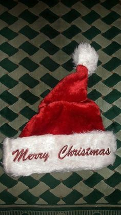 8fe49ce05e7 Adult Christmas Plush Santa Claus Hat With Merry Christmas Text  fashion   clothing  shoes