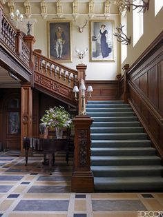 Somerleyton Hall, a storied English country house built in the century, finds a renewed sense of purpose when a young baron and his family take up residence. English Manor Houses, English House, English Country Decor, French Country Decorating, English Country Houses, Country French, French Style, Grand Staircase, Staircase Design