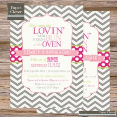 Girls Baby Shower Invitation Chevron Bun In Oven- hot pink, gray and light pink. $13.00, via Etsy.