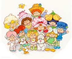 Strawberry shortcake and friends. Strawberry Shortcake Cartoon, Huckleberry Pie Strawberry Shortcake, Vintage Cartoon, Vintage Toys, Retro, Apple Smoothies, Dibujos Cute, Holly Hobbie, Illustration