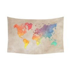 "world map Cotton Linen Wall Tapestry 90""x 60"""