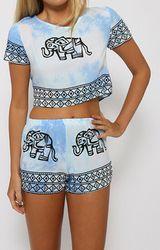 Sky Blue Elephant Print Co-Ord Set