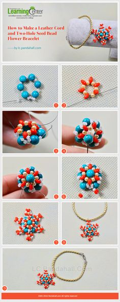 Tutorial on How to Make a Leather Cord and Two-Hole Seed Bead Flower Bracelet from LC.Pandahall.com