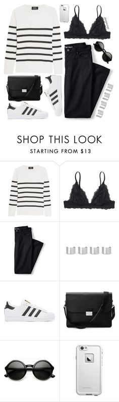 """Lovin' stripes"" by deeyanago ❤ liked on Polyvore featuring A.P.C., Monki, Lands' End, Maison Margiela, adidas Originals, Aspinal of London, ZeroUV, LifeProof and stripes"