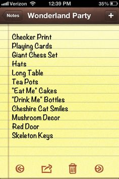 Alice in Wonderland Party Chrecklist