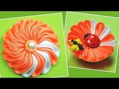Цветок Канзаши из тройных лепестков / Мастер класс - YouTube