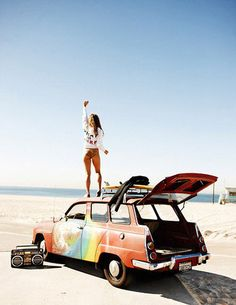 Hey!? Right here! Yeah I want to stand on a car overlooking the beach someday