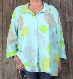 Erin London 3x size Blouse Blue Green Floral Linen Top Career Casual Plus Shirt