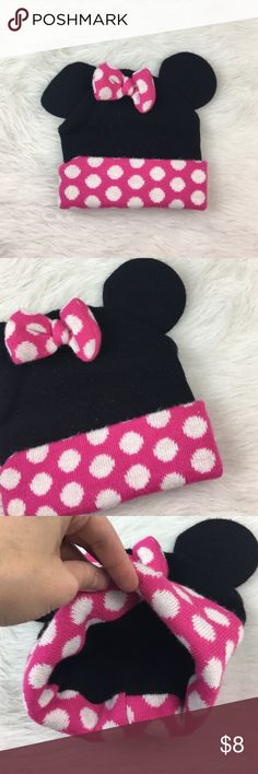 Minnie Mouse black mouse ears winter hat beanie Preloved. My daughter wore this when she turned 2 and wore it until she was 4. Super cute!!! Minnie Mouse Accessories Hats