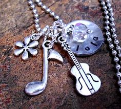 Personalized Musical Note Necklace, Cello Necklace, Music Necklace, Hand Stamped Jewelry, Name Necklace. $19.00, via Etsy.