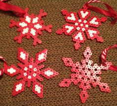 Christmas Red Snowflake Ornaments Set of 4 Perler Beads by OtakuBeads