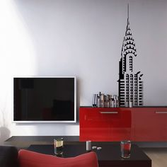 I love New York, now I can have a piece of it in my living room? Done deal! - From landmarks such as the Eiffel Tower and life-sized singers to bird cages and flowers, these wallpaper stickers can turn a common room into a creative and fun interior. Art Deco Wallpaper, Wallpaper Stickers, Cool Wallpaper, Profile Wallpaper, Modern Wall Decals, Vinyl Wall Decals, Wall Stickers, Chrysler Building, Wall Tattoo
