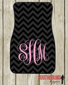 Car Mats Personalized Black Chevron by SouthboundHippie on Etsy