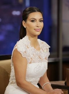 Just a pretty celebrity: So elegant floral lace dress on Kim Kardashian