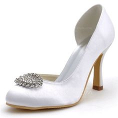 [US$ 47.99] Women's Satin Stiletto Heel Closed Toe Pumps With Rhinestone (047039718)