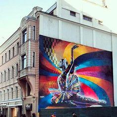 """The Dancer"" By Eduardo Kobra, a Street Art tribute to Maya Plisetskaya, one of the leading names in Russian ballet."