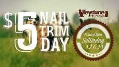 On Saturday, December 6th, 2014 from 10am to 2pm (as on the first Saturday of every month), Keystone Pet Place will be hosting a $5 Pet Nail Trim Day from 10am to 2pm. Bring in as many animals as you need to have clipped and between the groomers present that day, we will get you serviced! No appointment necessary.  If time allows and you'd like additional services like the dremel option (grinding), ear cleanings, teeth brushing, and/or anal gland expression, add them on for $5 each on that…