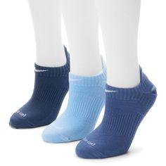 Nike 3-pk. Dri-FIT Lightweight No-Show Socks ($18) ❤ liked on Polyvore featuring intimates, hosiery, socks, blue, nike socks, dri fit socks, blue socks and nike