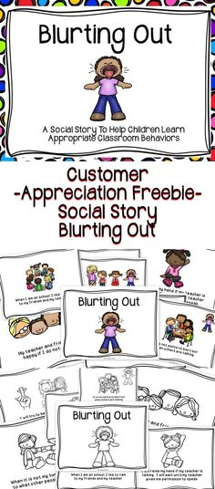 Story Blurting Out In The Classroom A Customer Appreciation FREEBIE - A social story to help children learn positive classroom behaviors .A Customer Appreciation FREEBIE - A social story to help children learn positive classroom behaviors . Social Skills Lessons, Teaching Social Skills, Social Emotional Learning, Student Learning, Emotional Support Classroom, Positive Behavior Support, Teaching Manners, Social Activities, Group Activities