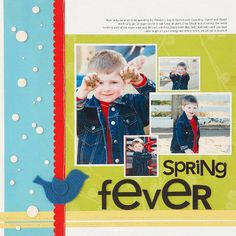 Design by Sarah Klemish Document a spring activity with a cluster of photos telling the story of a fun day. Choose photos in different sizes to add interest. Simple color choices and oversize accents capture the colors from the pictures and draw the eyes in.  SOURCES: Patterned paper: KI Memories (turquoise), Tinkering Ink (yellow), Making Memories (green). Font: Bell Gothic off the Internet. Stickers: Doodlebug Design. Chipboard accents: Doodlebug Design (letters), Technique Tuesday…