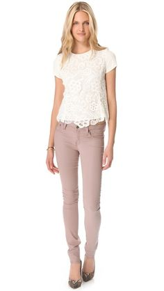 Rebecca Taylor Lace Tee and Helmut Gloss Wash Skinny Jeans