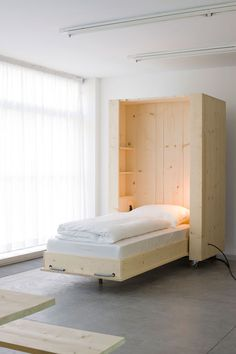 "Atelierhouse by Studio Harry Thaler- moveable furniture.. the beds are meant to feel like ""little houses"" all the spaces can therefore be rearranged if needed creating flexible living. Boxes can be private spaces as well as open up to larger communal space. Anna"