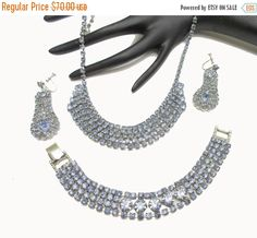 Blue Rhinestone Necklace Bracelet and earrings Parure set Mid Century Hollywood glamour